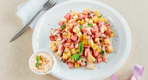 Салат з вареної ковбаси та буженини з заправкою